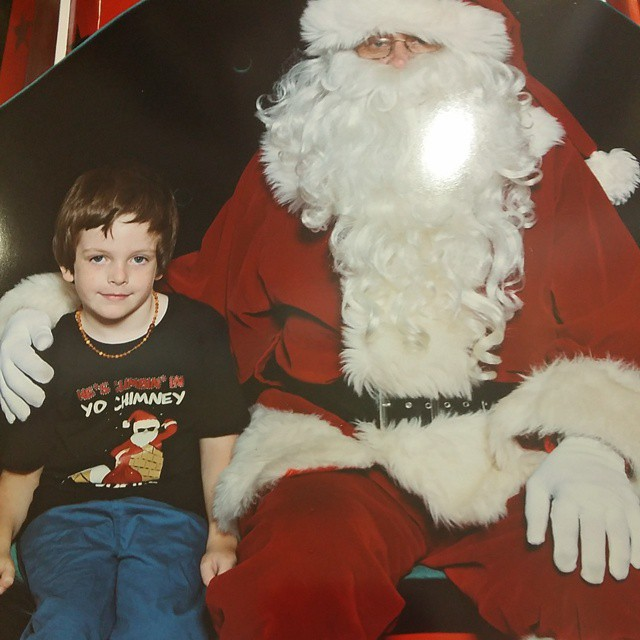 This was Mr 5's first Santa photo on his own since he was a baby.  I was so proud of him.