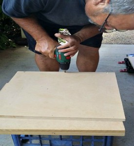Pre-Drilling the holes for the Box Shelves with Bosch Drill